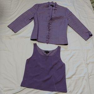 Lafayette 148, 2pc Blazer/Cami, Linen/Silk/Leather